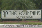 sign at entrance to The Fountains in Lake Worth
