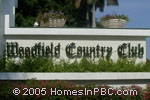 sign at entrance to Woodfield Country Club                             in Boca Raton