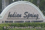 sign at entrance to Indian Spring                                      in Boynton Beach