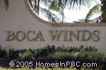 sign at entrance to Boca Winds                                         in Boca Raton