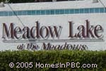 sign in front of Meadow Lake in Boynton Beach