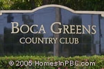 sign in front of Boca Greens Country Club in Boca Raton