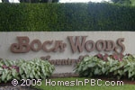 sign in front of Boca Woods Country Club in Boca Raton