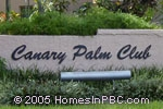 sign in front of Canary Palm Club in Boca Raton