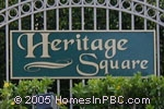 sign in front of Heritage Square in Boca Raton