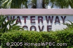 sign in front of Waterway Cove in Wellington