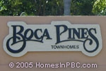 sign in front of Boca Pines in Boca Raton