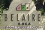 sign in front of Belaire Boca in Boca Raton