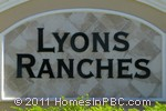 sign in front of Lyons Ranches in Boynton Beach