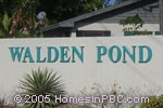 sign in front of Walden Pond in Lake Worth