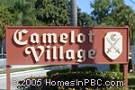 sign in front of Camelot Village in Delray Beach