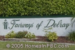 sign in front of Fairways of Delray in Delray Beach