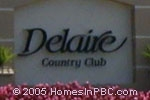 sign in front of Delaire Country Club in Delray Beach